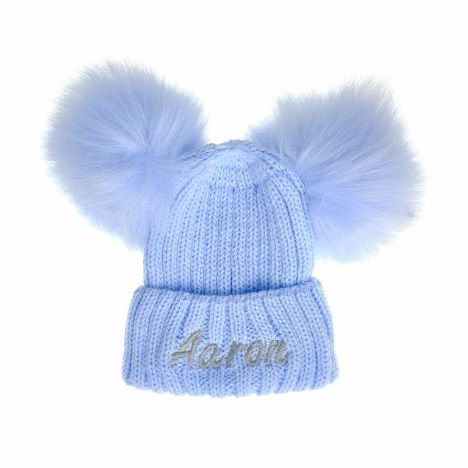 Blue Knit Baby & Kids Bobble Pom Hat