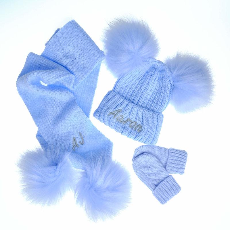 Personalised Blue Knit Faux Fur Pom Pom Hat