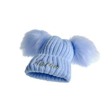 Blue Knit Pom Hat