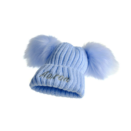 Personalised Blue Knit 2 Pom Hat (0-8years)