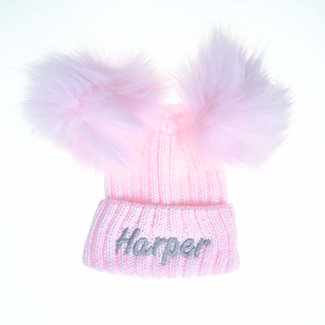 My Little Chick Pink Knit Kids Pom Pom Hat