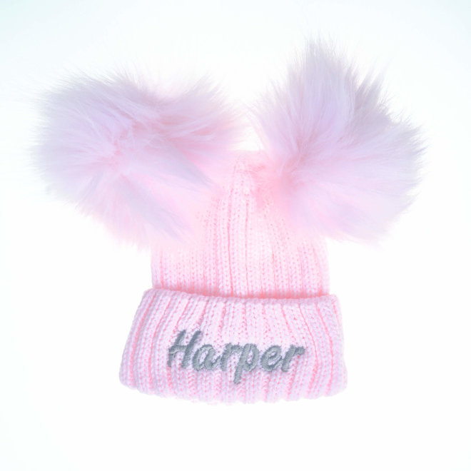 Pink Knit Baby & Kids Bobble Pom Hat