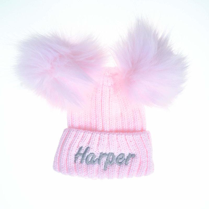 Personalised Pink Knit Faux Fur Pom Pom Hat