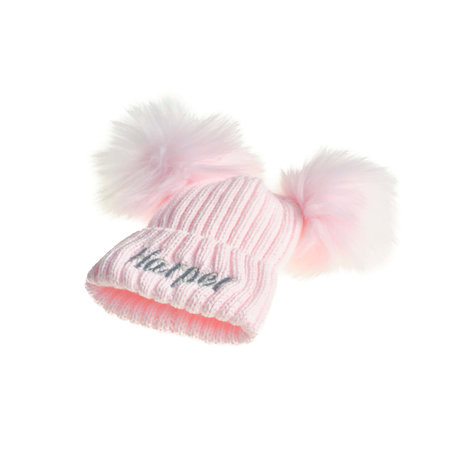 Personalised Pink Knit 2 Pom Hat (0-8years)