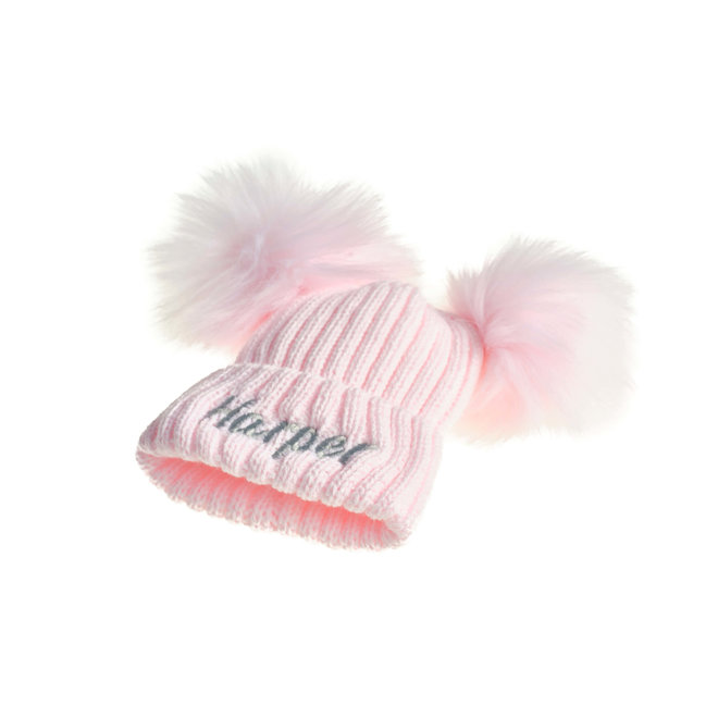 Personalised Pink Knit Bobble Pom Hat