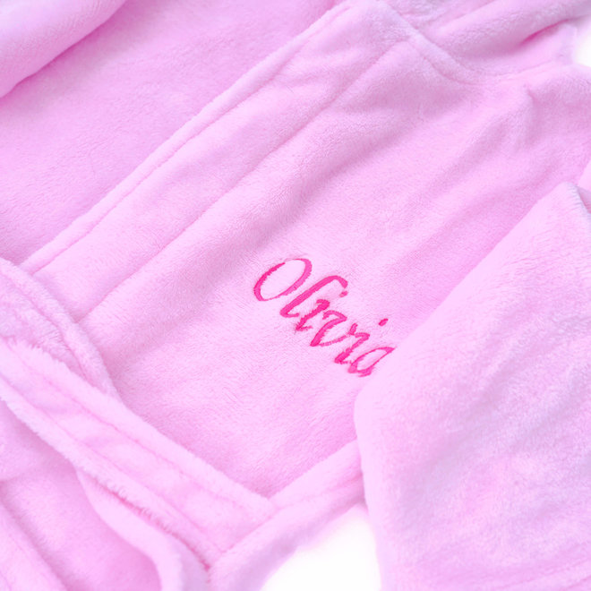 Personalised Baby Pink Robe with Bunny Ears