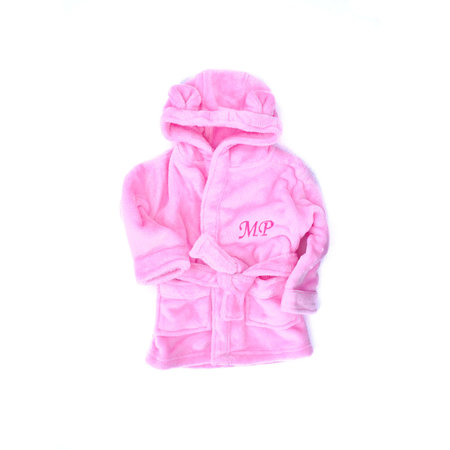The Name Shops Peronsalised Pink Baby Dressing Gown - Bunny Ears