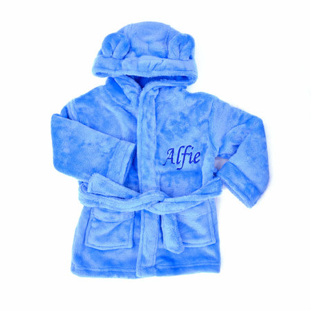 The Name Shops Peronsalised Blue Baby Dressing Gown - Bunny Ears