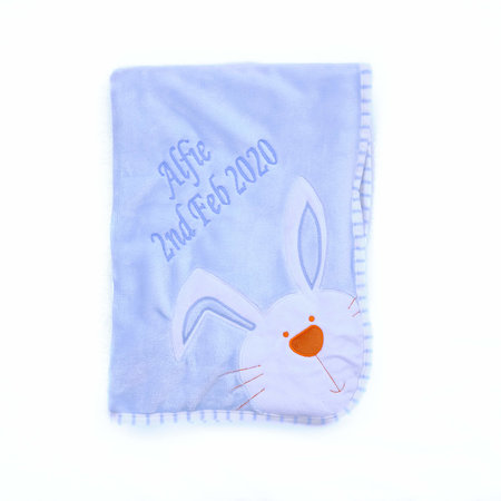 The Name Shops Blue Bunny Baby Blanket Personalised
