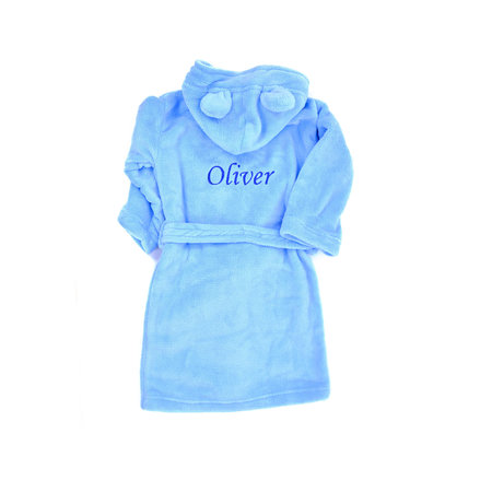 The Name Shops Peronsalised Blue Kids Dressing Gown - Bunny Ears