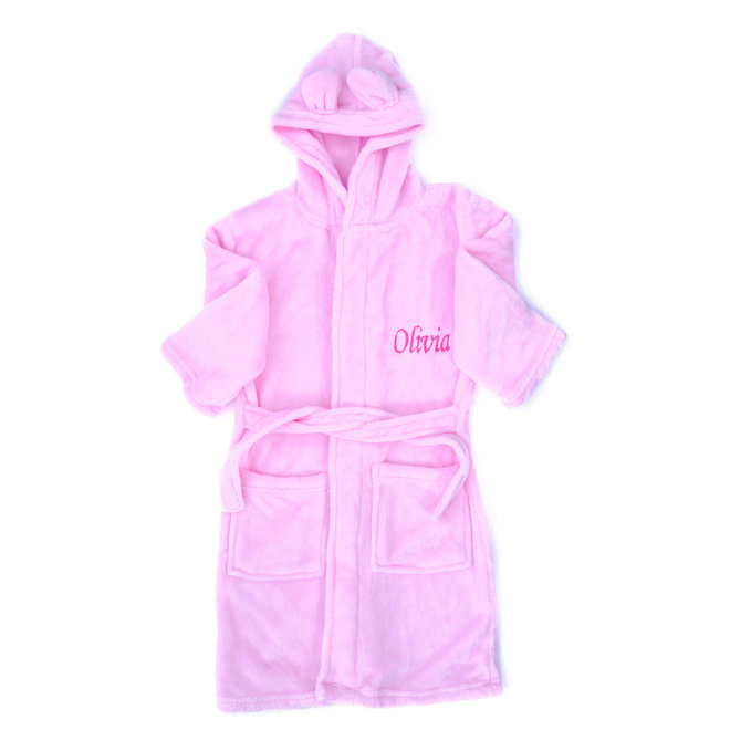 Personalised Girls Pink Robe with Bunny Ears