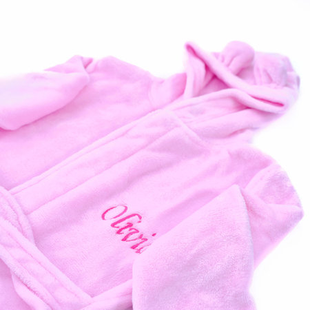 The Name Shops Peronsalised Pink Kids Dressing Gown - Bunny Ears