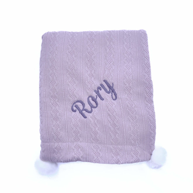 Grey Knit Peronalised  Baby Blanket