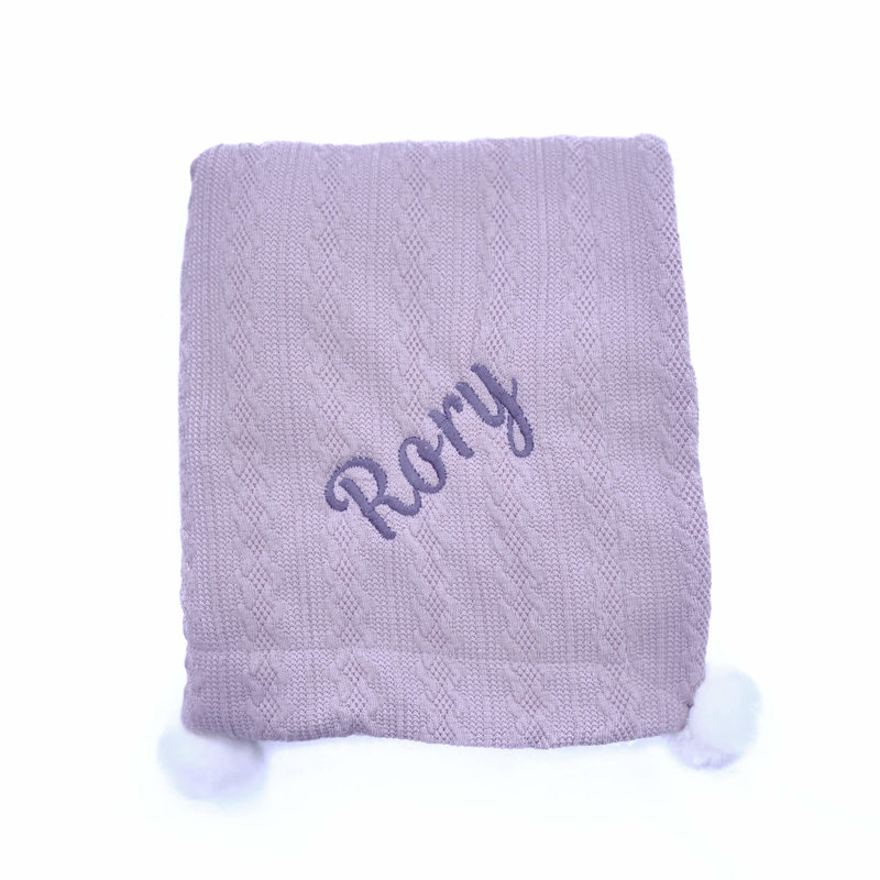 Grey Knit Embroidered Baby Blanket