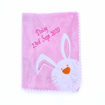 Pink Bunny Baby Blanket Personalised