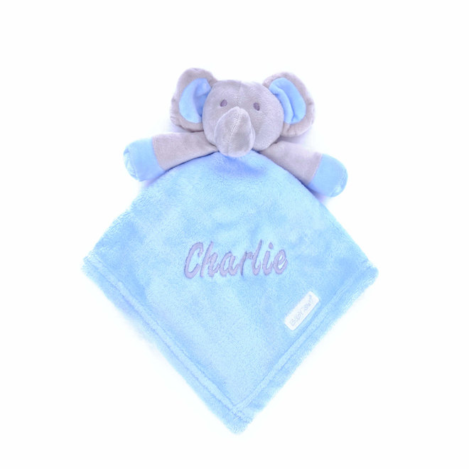Blue Elephant Comfort Blanket Personalised with a Name