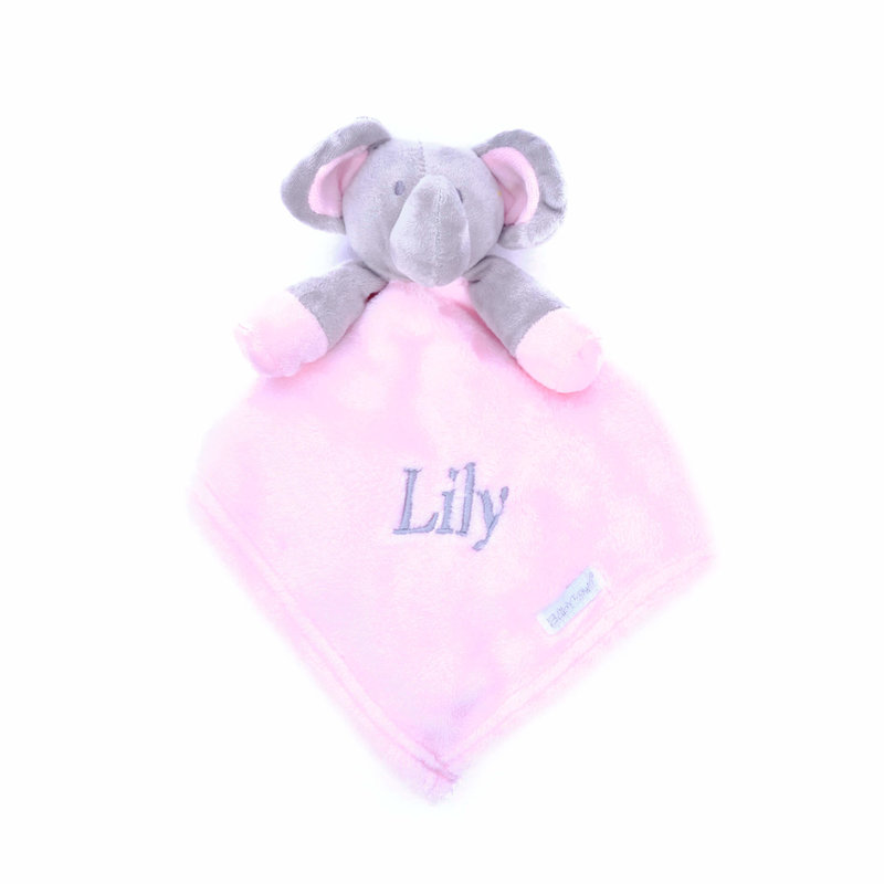 Pink Elephant Comfort Blanket Personalised with a Name
