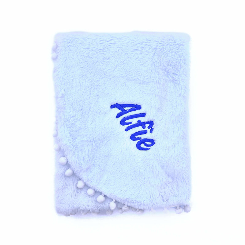 Blue Fluffy Pom Baby Blanket Personalised