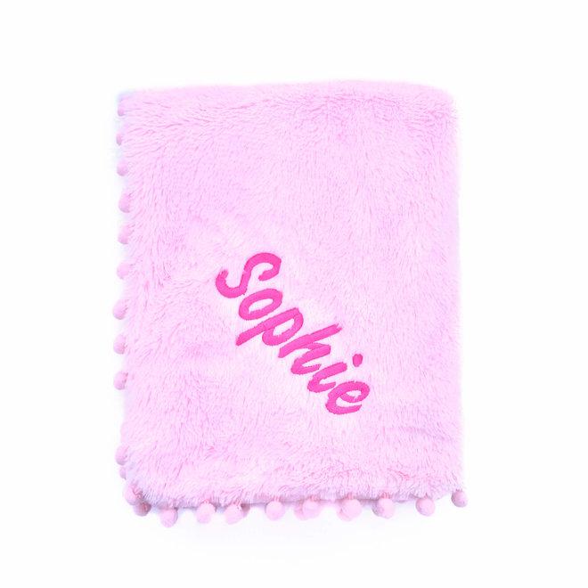 Pink Pom Baby Blanket Personalised