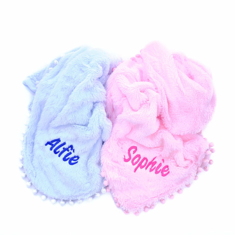 Pink Fluffy Pom Baby Blanket Personalised