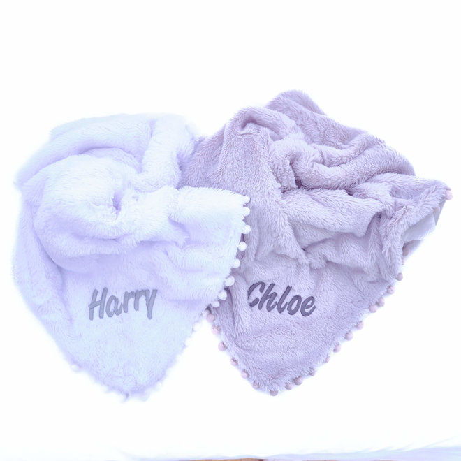 Grey Fluffy Pom Baby Blanket Personalised