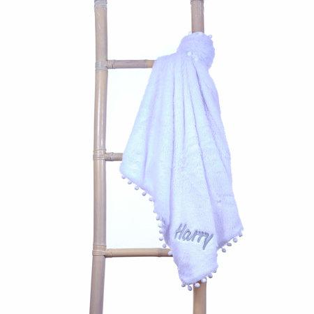 White Fluffy Pom Baby Blanket Personalised