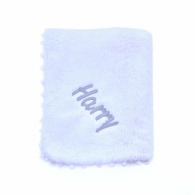 White Fluffy Pom Baby Blanket Personalised