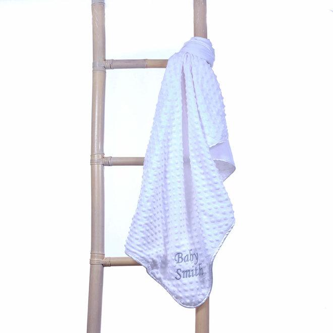 Personalised White Dimple Baby Blanket