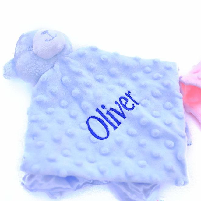 Personalised Blue Teddy Comfort Blanket