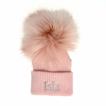 Dusty Pink Pom Baby Hat