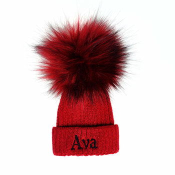 Personalised Red Baby Pom Hat - Faux Fur Pom