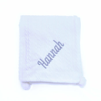 White Knit Personalised Baby Blanket