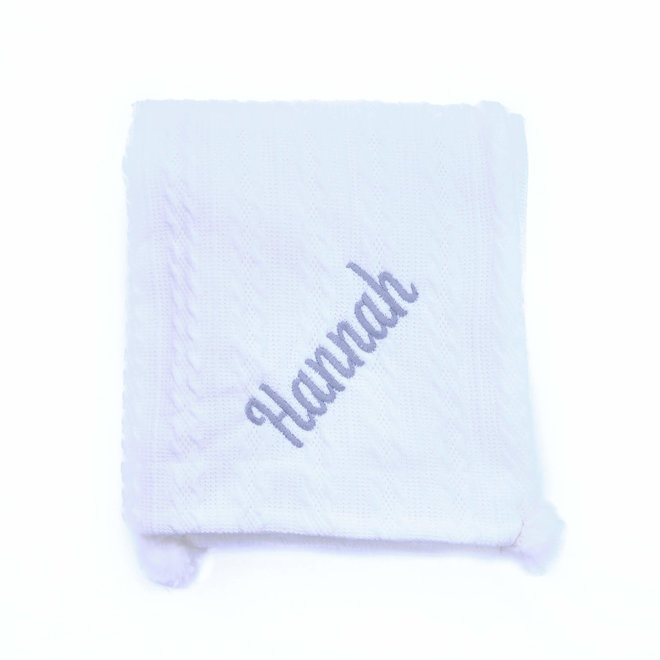 White Knit Embroidered Baby Blanket with Inner Fleece