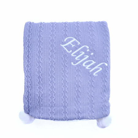Dusty Blue Knit Personalised Baby Blanket