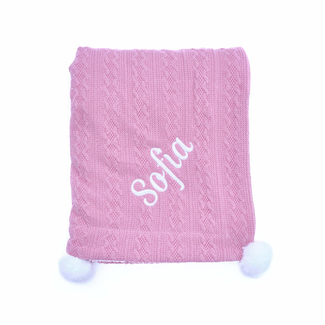 Dusty Pink Baby Blanket with white fleece lining