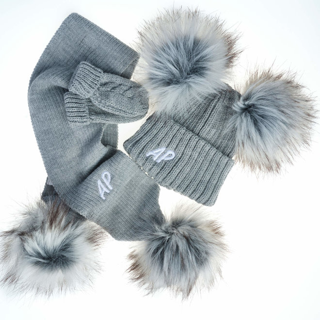 Grey Knit Bobble Pom Hat & Scarf Set