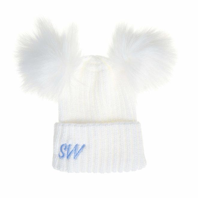 Personalised White Knit Pom Pom Hat & Scarf Set