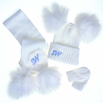 White Knit Pom Pom Hat & Scarf Set