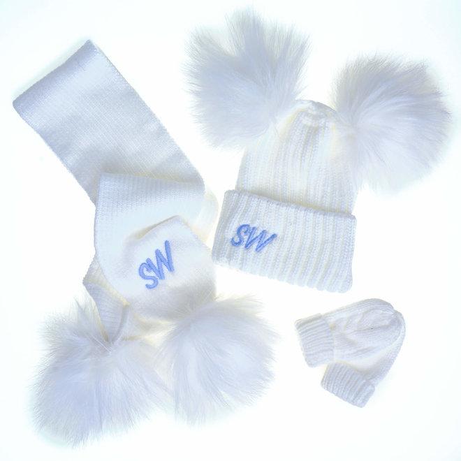 White Knit Pom Pom Hat & Scarf Set