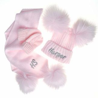 My Little Chick Pink Knit Pom Pom Hat & Scarf Set
