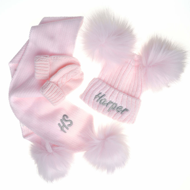 Personalised Pink Knit Pom Pom Hat & Scarf Set
