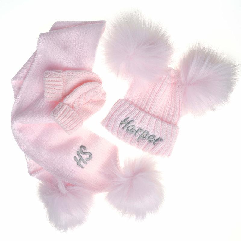 Personalised Pink Knit Pom Pom Hat & Scarf Set