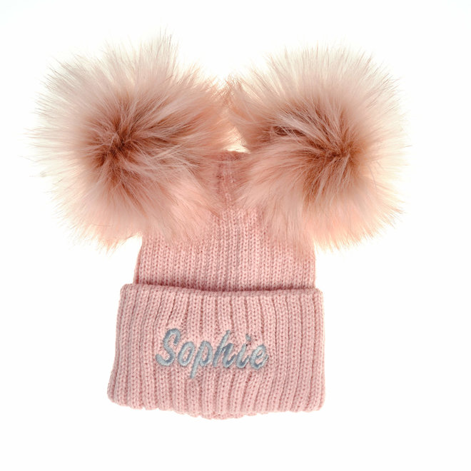 Personalised Dusty Pink Knit Pom Pom Hat & Scarf Set