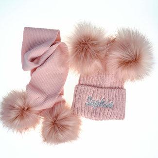 My Little Chick Dusty Pink Knit Pom Pom Hat & Scarf Set