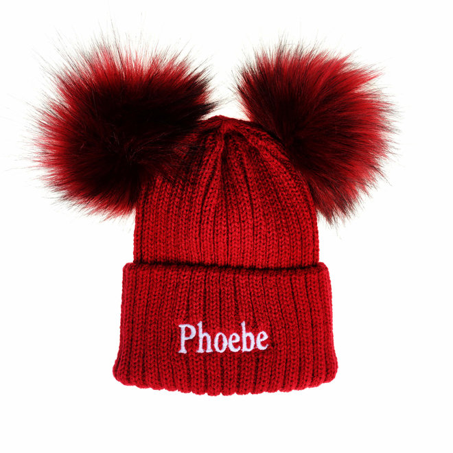 Personalised Red Knit Pom Pom Hat & Scarf Set