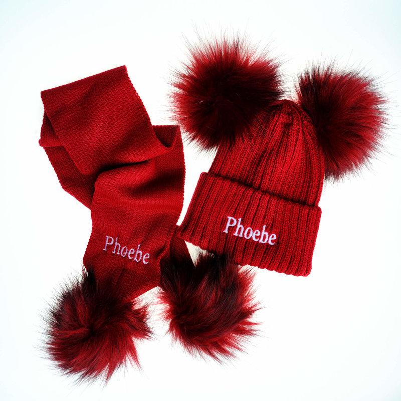 Personalised Red Knit Pom Pom Hat & Scarf Set