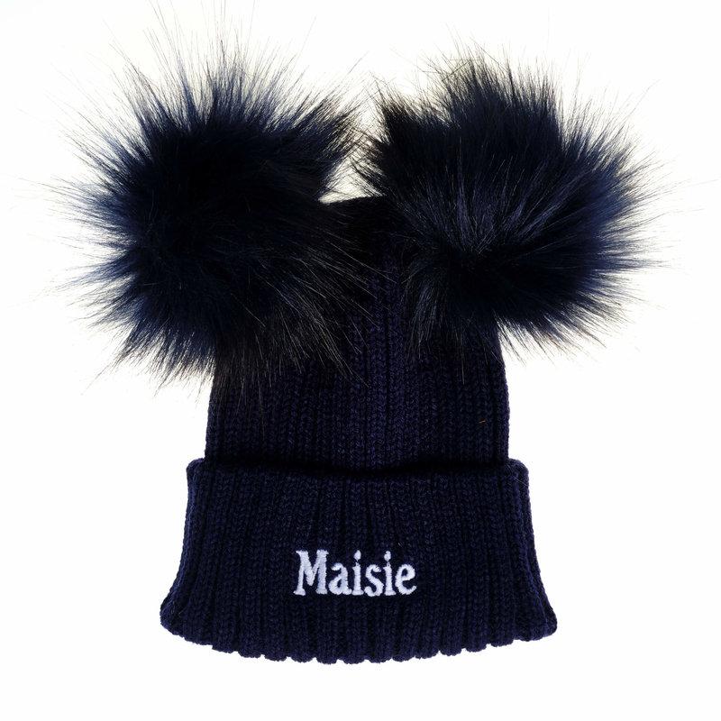 Personalised Navy Knit Pom Pom Hat & Scarf Set