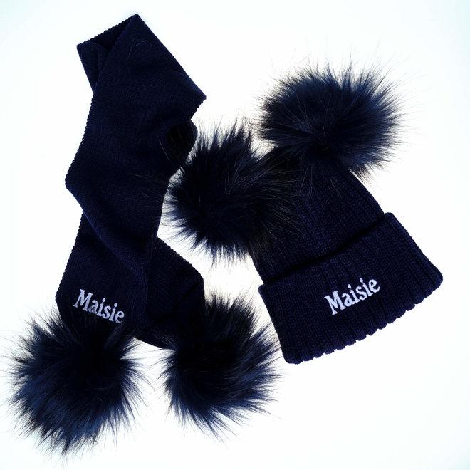 Navy Knit Pom Hat & Scarf Set