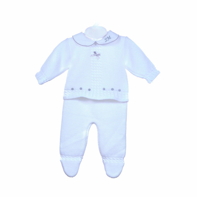White Baby Suit Three Piece Set