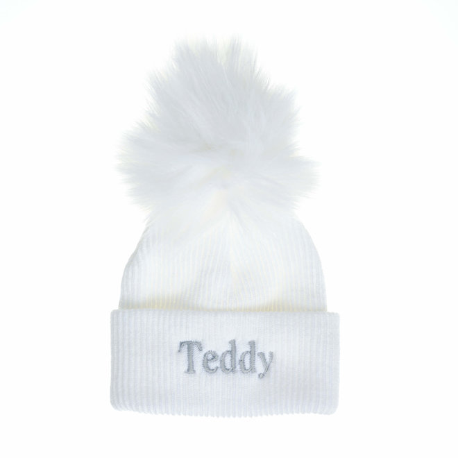 Personalised White Newborn-6months Baby Bobble Pom Hats